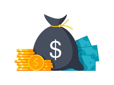 Money stylish modern illustration with money bag, coins and banknotes