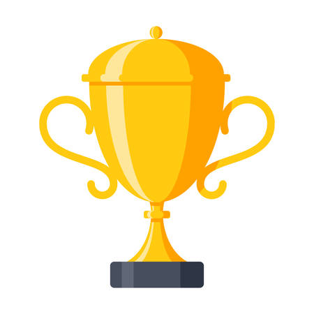 Award icon with champion golden trophy cup for winner Ilustração