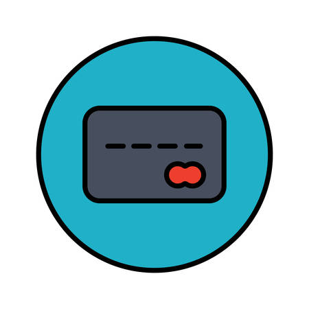Credit card color stylish outline icon in a circle