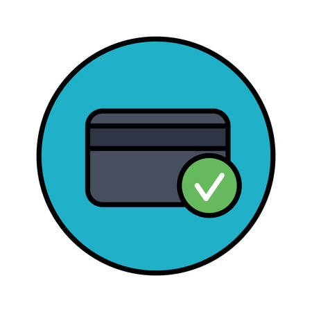 Credit Card Accepted color stylish outline icon in a circle