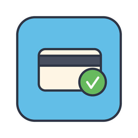Credit Card Accepted colored stylish outline icon in a square