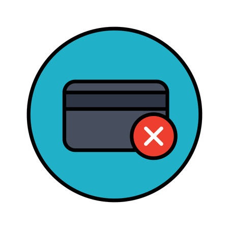Credit card declined color stylish outline icon in a circle Illustration