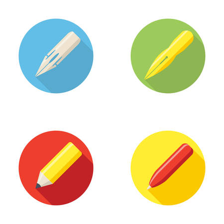 Writing tools icon with pen nib and pencil Stock Illustratie