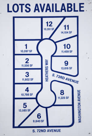 new subdivision sign showing lots available for sale