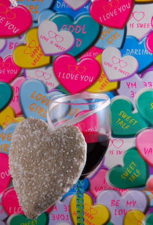 valentine greeting, heart and glass of red wine Stock Photo