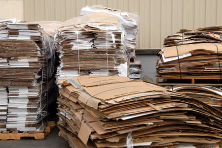 recycle center with pallets of recycled cardboard Stock Photo