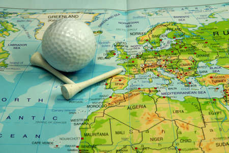 isles: map with golf ball and tees by British Isles Stock Photo
