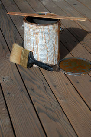 time to stain wood deck with brush