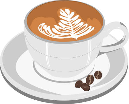 cappucino: Cappucino koffiekopje Stock Illustratie