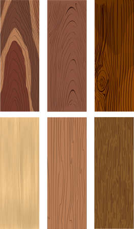 Realistic five types of wood with the ability to change colors. Fully editable vector.