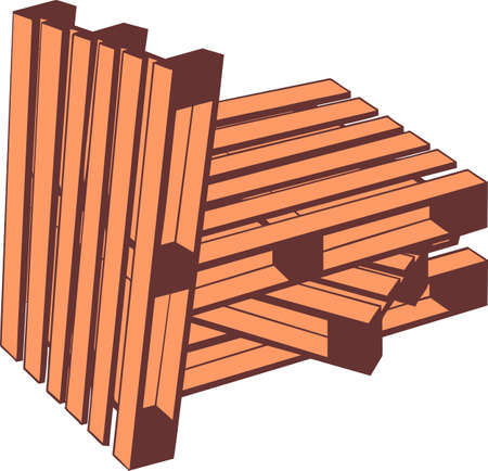 Standardized wooden pallets to transport and freight transport Ilustração