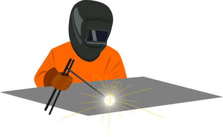 Welder welding dressed in an orange jumpsuit and helmet type mask
