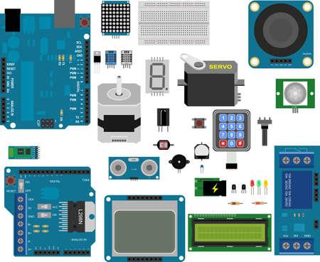 Arduino electronic elements Stock Illustratie