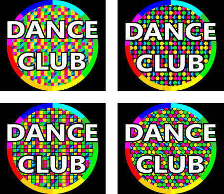 The concept of the logo in four versions for music or dance club