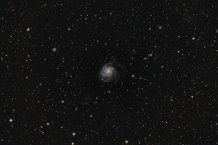 Messier 101 is named a Pinwheel Galaxy. In NGC catalog has a 5457 number. Is a face on spiral galaxy in the Ursa Major constellation.