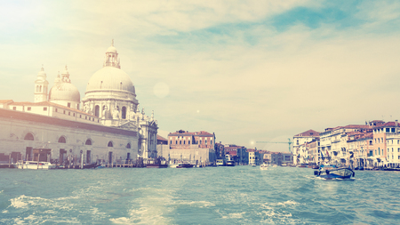 Wide view of grand canal in beautiful Venice, Italy 免版税图像