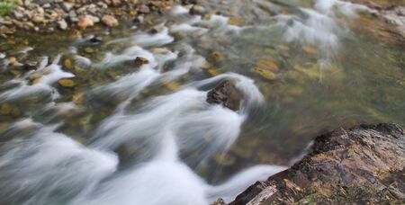Panorama of a stream flowing over rocks