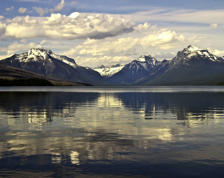 Peaceful scene on Lake Macdonald in Glacier National Park, Montana Stock Photo