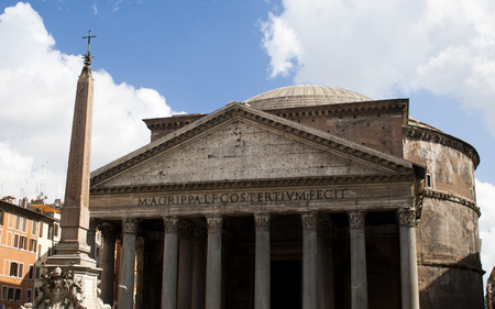 Front of the Pantheon in Rome, Italy with blue sky