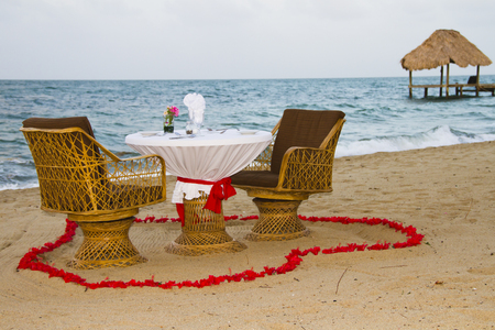 Romantic dinner for two on the beach in Belize Banco de Imagens