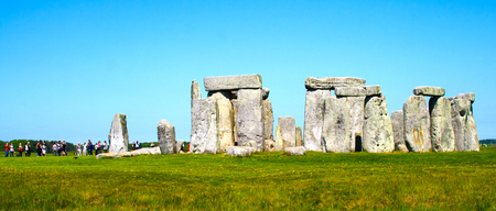 Stonehenge and tourists in England Stock Photo