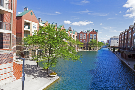 Canal and beautiful waterfront architecture in downtown Indianapolis, the capital of Indiana, USA