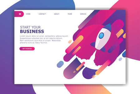 modern flat design marketplace landing page