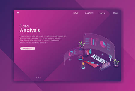 isometric data analysis landing page template, landing page data analysis