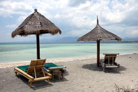 sunshade on a tropical beach in Asia
