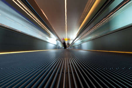 Moving escalator on a airport photo