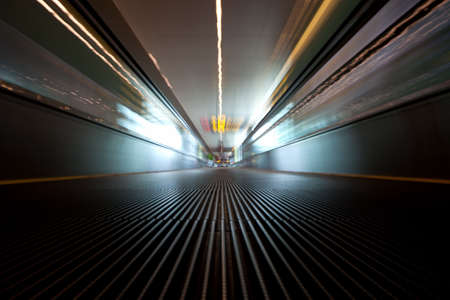 Moving escalator on a airport