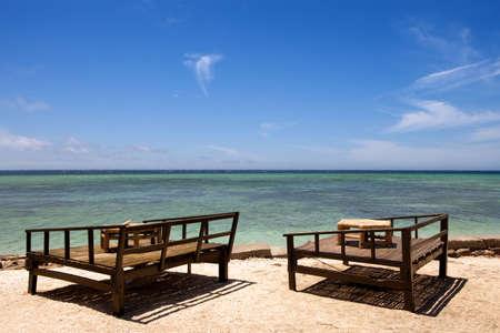 Seats on a tropical beach  Stock Photo