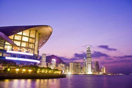 香港の金融センターで魔法の時間です。 写真素材