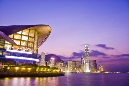 sunup: it is a magic hour at hong kong finance center.