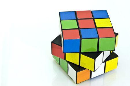 Rubiks cube over white background