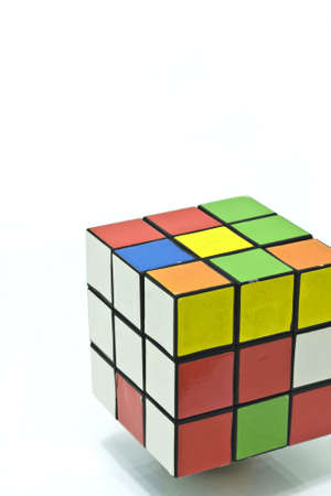 Rubiks cube over white background photo