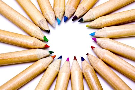Colored pencils forming a color circle. White background. Stock Photo - 6388490