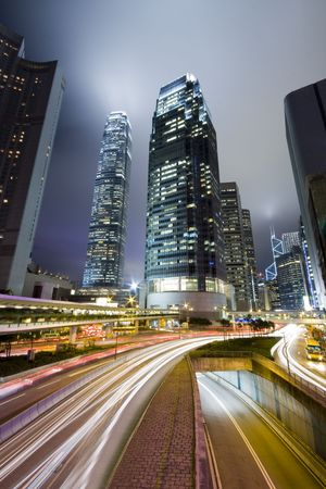 Hong Kong at night with highrise buildings  photo