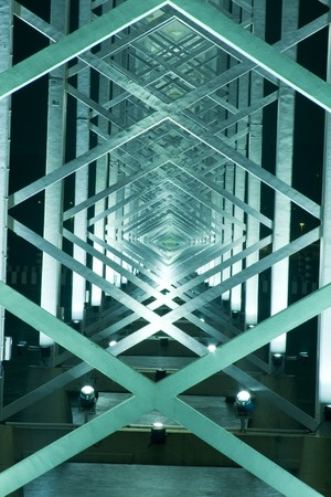 rhombus: it is a metal Construction of bridge in macau  Stock Photo