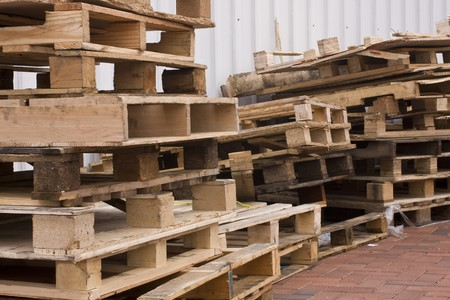 on the skids: it is a shot of piles of wooden pallets