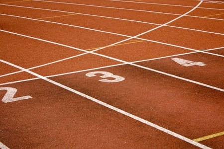 Running lanes on a track in play gorund  photo