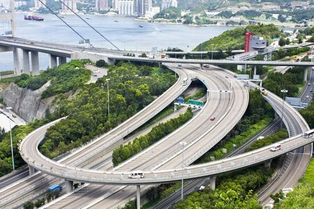 Aerial view of complex highway interchange in HongKong photo