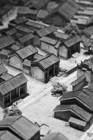 mundane: model of chinese village  Stock Photo