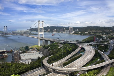 ma: Tsing Ma Bridge in Hong Kong  Stock Photo