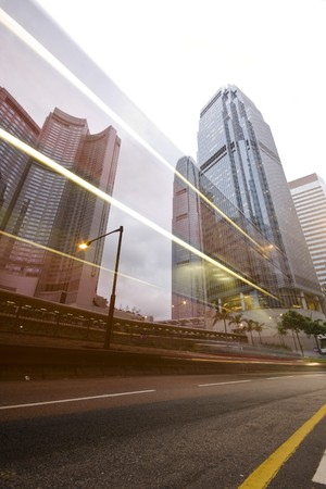 traffic through downtown in HongKong  photo