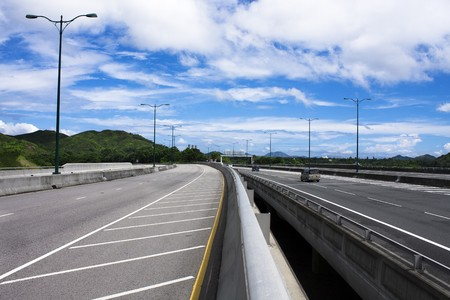express lane: highway and blue sky in hong kong