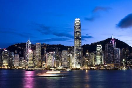 kong: hong kong and modern building for texture Stock Photo