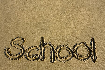 Message says school in the Sand on a Beach and texture area upper photo