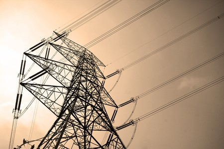 electricity supply: Electricity pylons with long cable at day Stock Photo