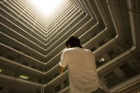 man take photo of Hong Kong public housing apartment block  Stock Photo - 7872866